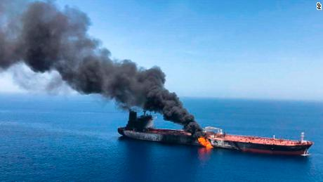 An oil tanker is on fire in the sea of Oman, Thursday, June 13, 2019.