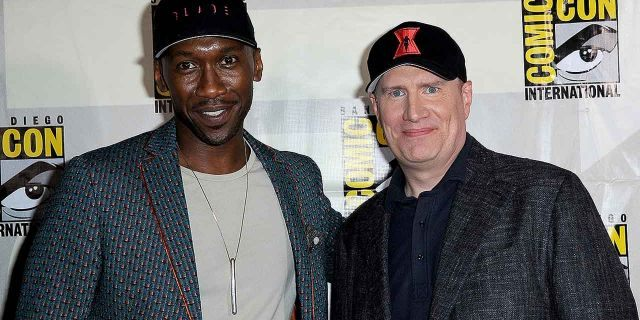 """Mahershala Ali and Marvel Studios President Kevin Feige pose for a photo at San Diego Comic-Con on July 20, 2019. Ali has been announced as the new Blade in a reboot of the vampire-hunter series. Wesley Snipes previously starred as the """"Day Walker."""""""