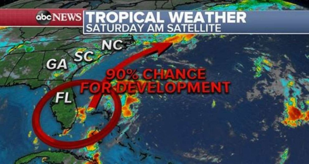 PHOTO: There is a 90% chance for development of a tropical system off the Florida coast. But impacts should be light.
