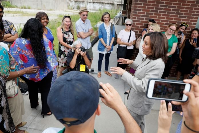 Democratic presidential candidate Sen. Kamala Harris speaks to an overflow crowd before a Women of Color roundtable discussion, Tuesday, July 16, 2019, in Davenport, Iowa. (AP Photo/Charlie Neibergall)