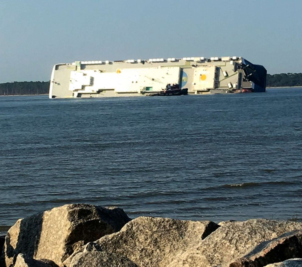 PHOTO: In this photo provided by Tara Jones, a capsized cargo ship is seen near a port on the Georgia coast, Sunday, Sept. 8, 2019.