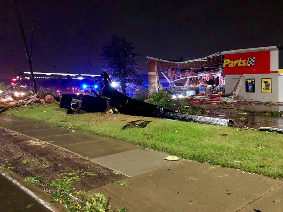PHOTO: An auto parts store damaged during the storm is seen in Sioux Falls, S.D., Sept. 11, 2019.