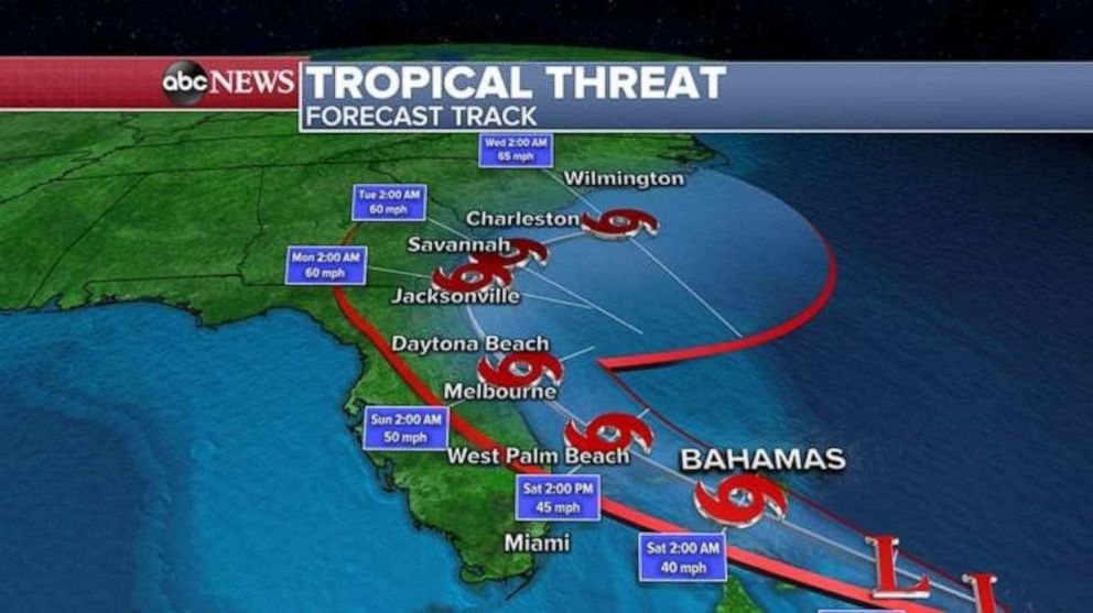 PHOTO: The forecast track shows the direction of the storm.