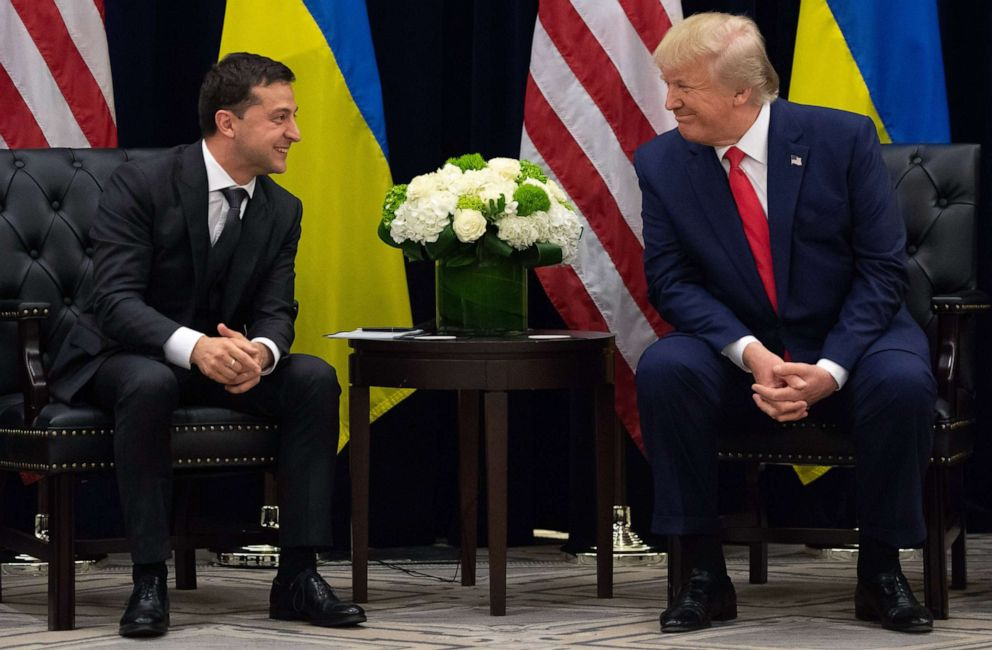 PHOTO: Ukrainian President Volodymyr Zelensky and President Donald Trump meet in New York on Sept.25, 2019, on the sidelines of the United Nations General Assembly.
