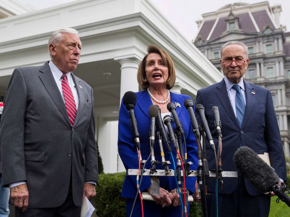 PHOTO: House Majority Leader Steny Hoyer, left, House Speaker Nancy Pelosi, and Senate Minority Leader Chuck Schumer, speak with reporters after a meeting with President Donald Trump at the White House, Wednesday, Oct. 16, 2019, in Washington.