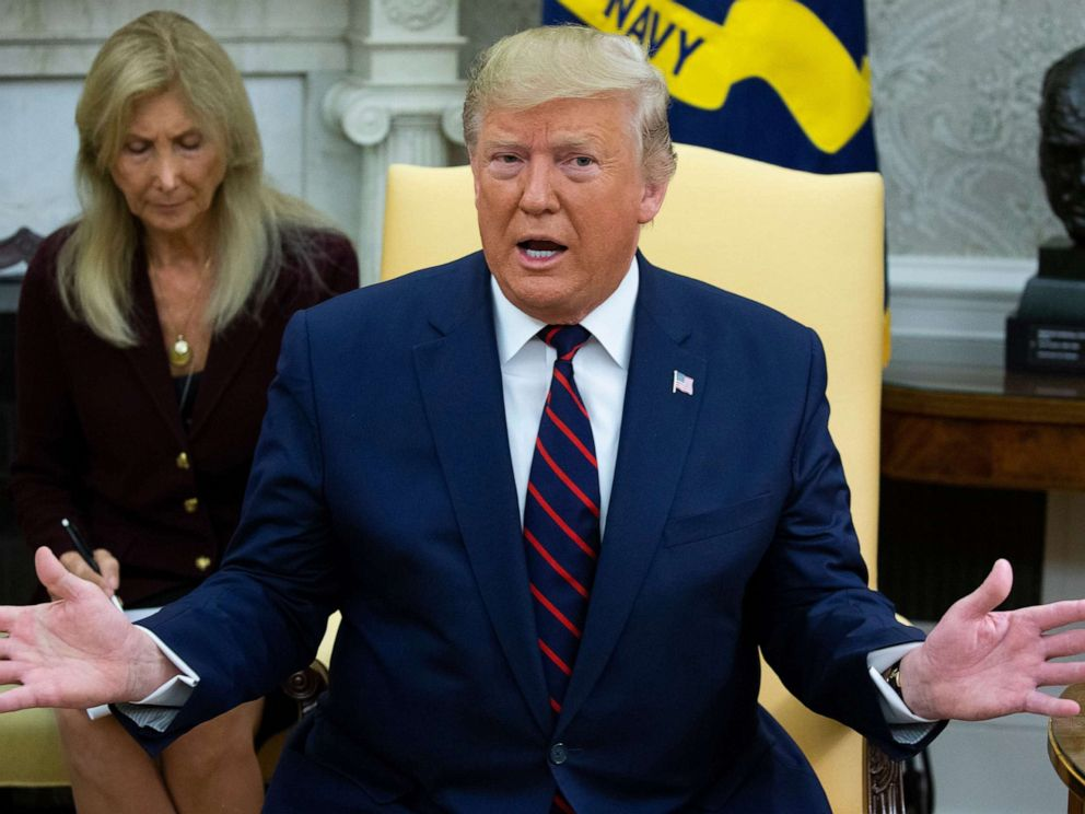 PHOTO: President Donald J. Trump delivers remarks during a meeting with President of Italy Sergio Mattarella (not pictured) in the Oval Office of the White House in Washington, DC, Oct. 16 2019.