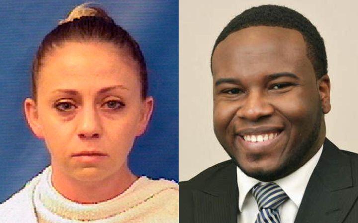 A split picture showing Amber Guyger's mugshot on the left and Botham Jean on the right.