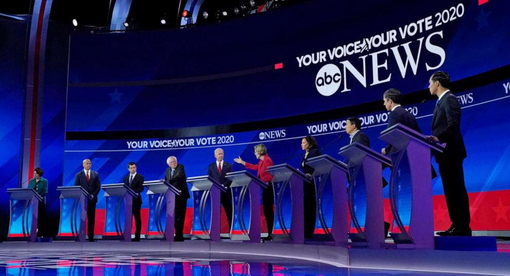 PHOTO: 2020 Democratic presidential candidates participate in a debate at Texas Southern University, Sept. 12, 2019 in Houston, Texas, Sept. 12, 2019.