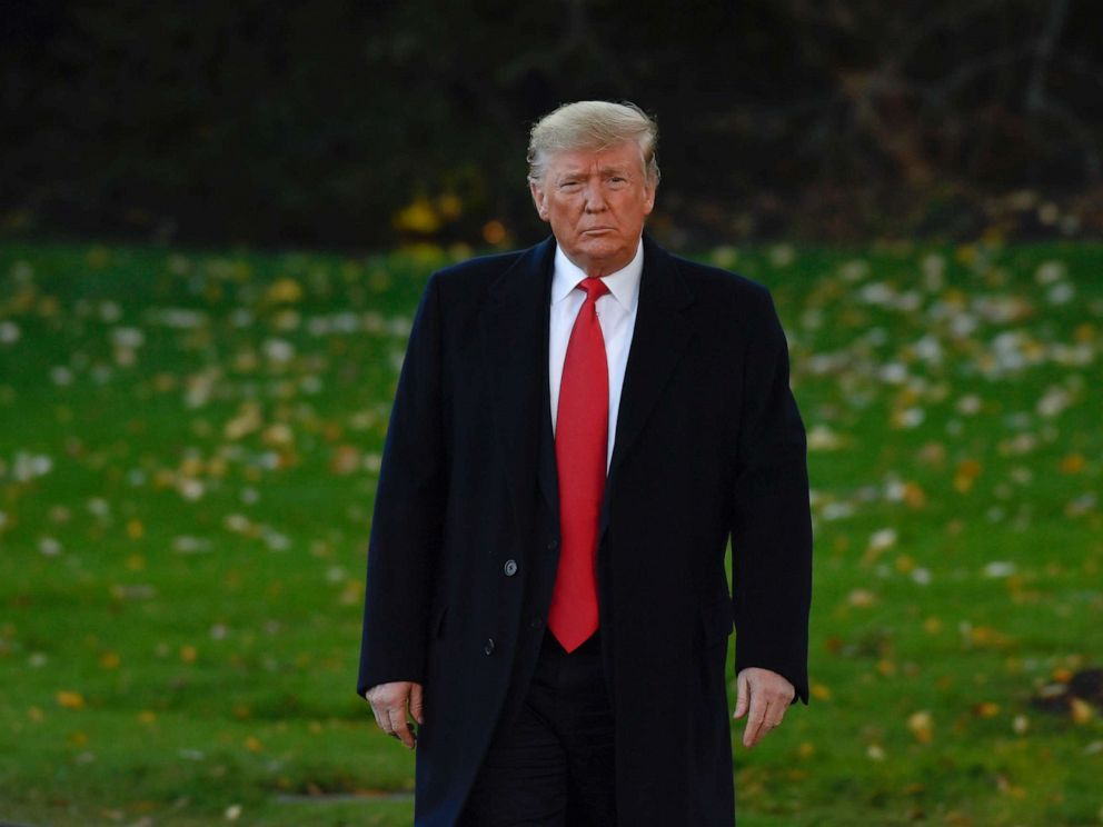 PHOTO: President Donald Trump walks over to talk to reporters on the South Lawn of the White House in Washington, Nov. 1, 2019.