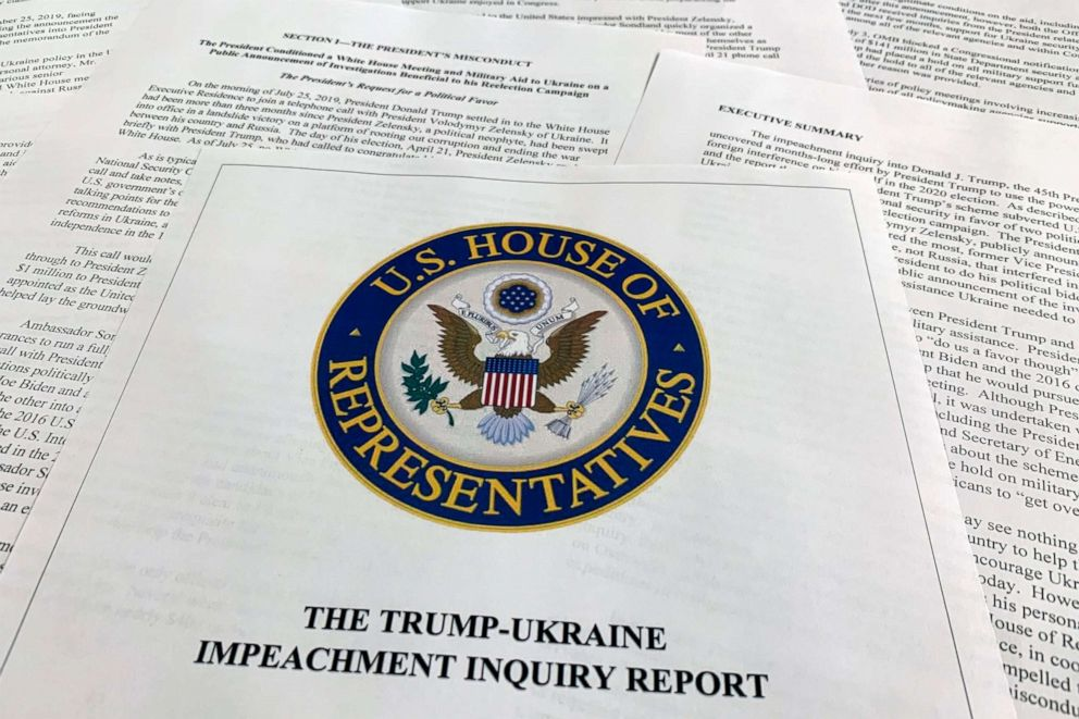 PHOTO: The report from Democrats on the House Intelligence Committee on the impeachment inquiry into President Donald Trump is photographed in Washington, Dec. 3, 2019.