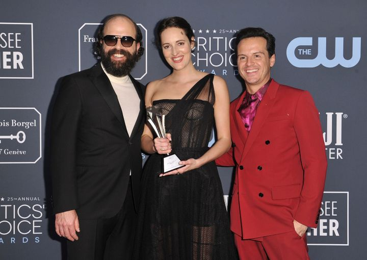 (L-R) Brett Gelman, Phoebe Waller-Bridge and Andrew Scott pose in the press room with the award for best comedy series for Fl