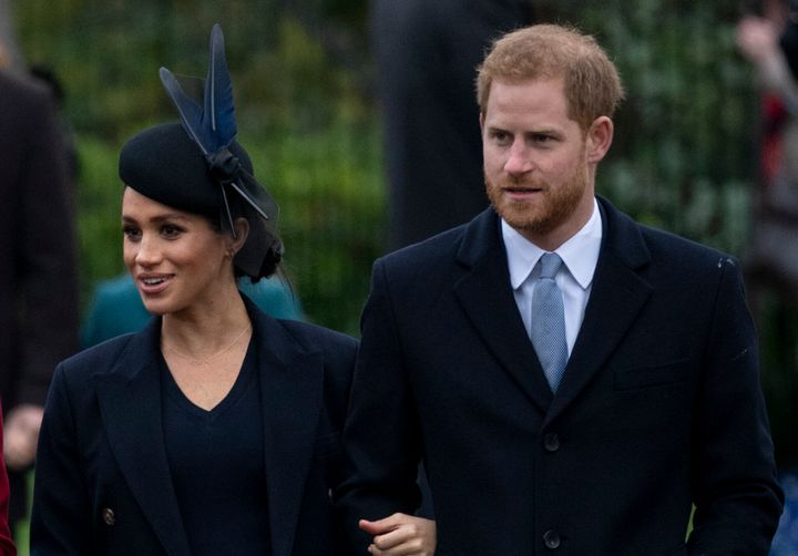 The Duke and Duchess of Sussex attend Christmas Day Church on Dec. 25, 2018.